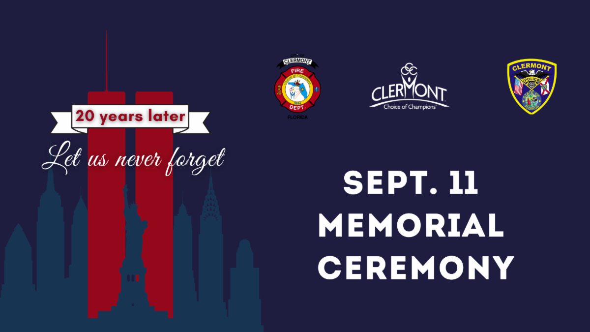 """graphic showing twin towers against NYC skyline in red on navy background, with city logos and text """"sept. 11 memorial ceremony"""" and """"20 years later"""""""