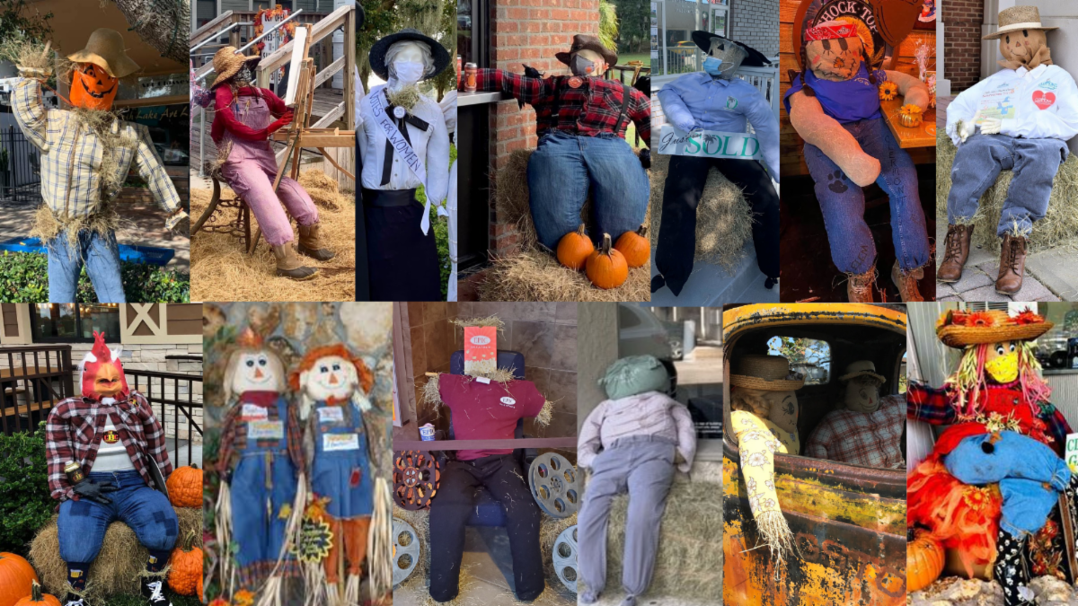 collage of photos of scarecrows