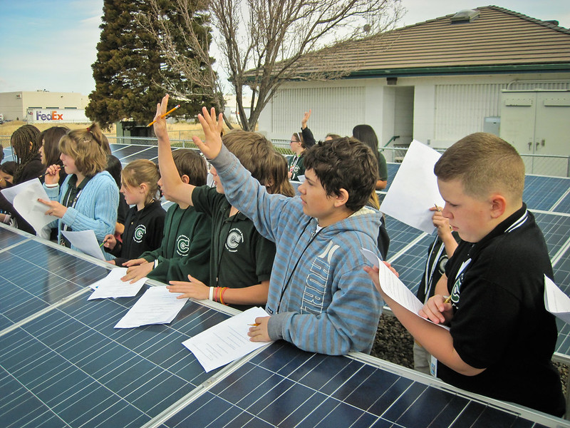 children and solar panel