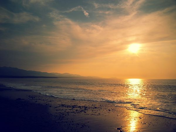sunset at Dungeness Spit WA by D Vandiver