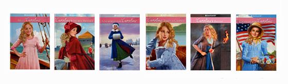 Graphic of 6 original Caroline American Girl books.