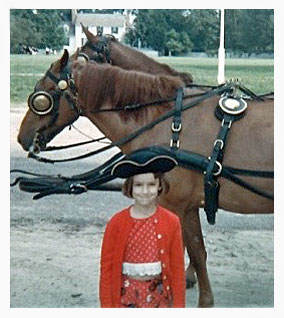 Bestselling author Kathleen Ernst at Colonial Williamsburg as a child.