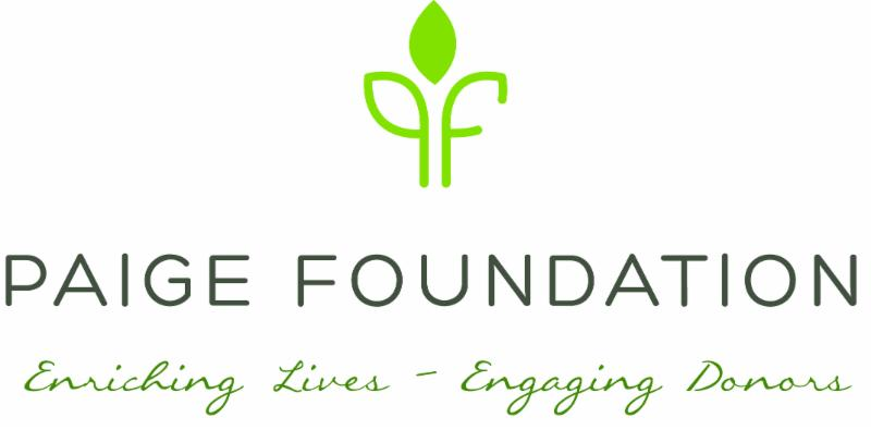 "Logo for the Paige Foundation with tagline ""Enriching Lives - Engaging Donors"""