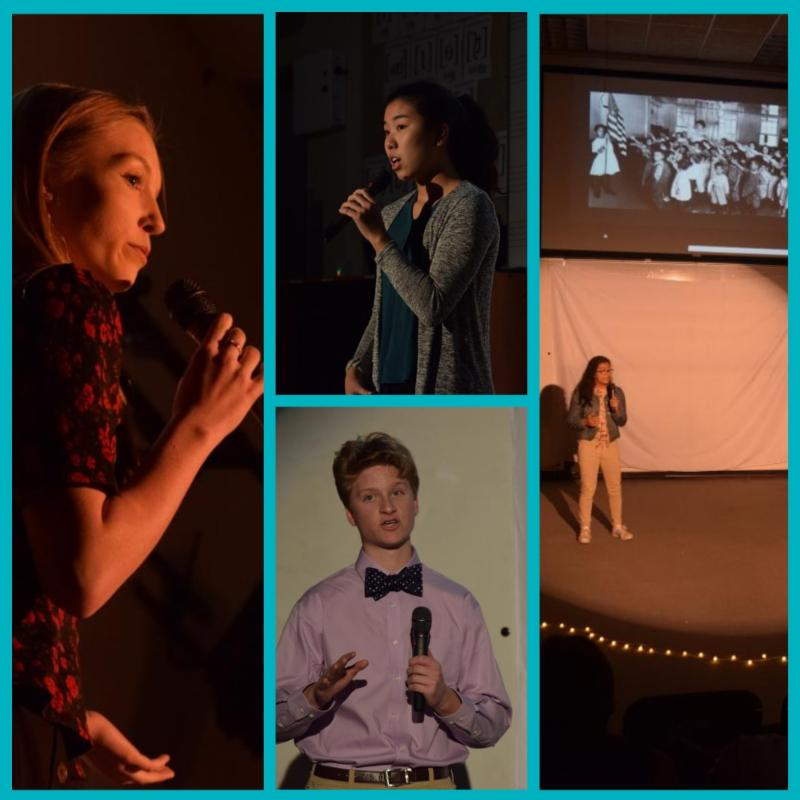 Collage of high school students holding microphones and speaking on a stage. One image has a black and white slide in the background.