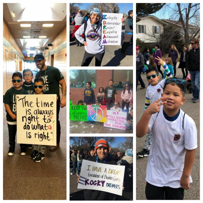 A collage of photos with young children marching in remembrance of Dr. Martin Luther King, Jr., and carrying signs that honor him.