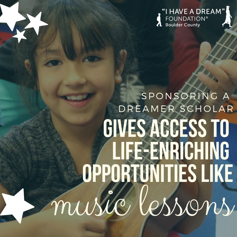 Image of a young girl holding a ukelele. text: sponsoring a dreamer scholar gives access to life-enriching opportunities like music lessons