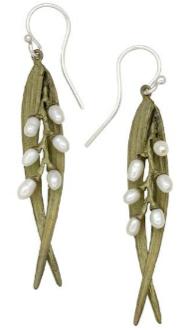 Rice Pearl Leaf Earrings