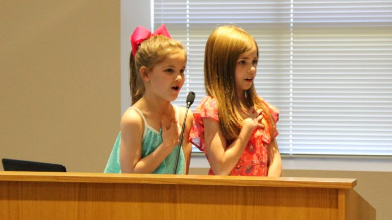 Students from Beck led the pledge.