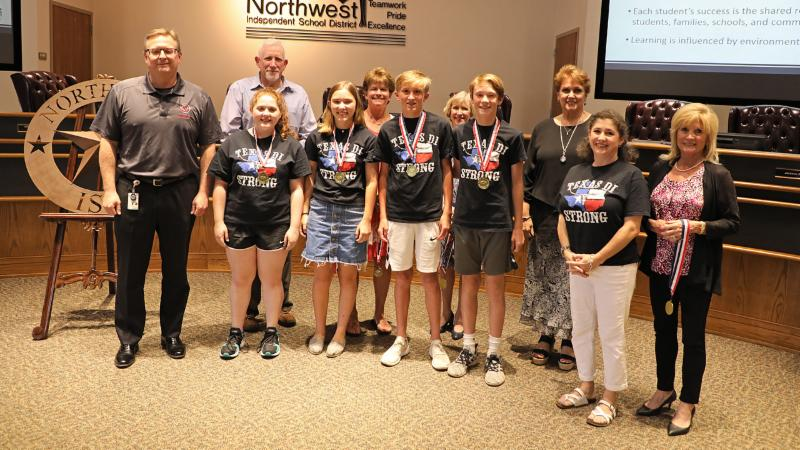 Trustees recognize Medlin students who competed at DI Global Finals