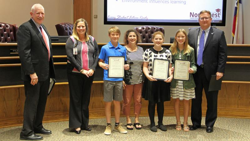 Trustees recognized Medlin Middle School students for reaching the Destination Imagination Global Finals.