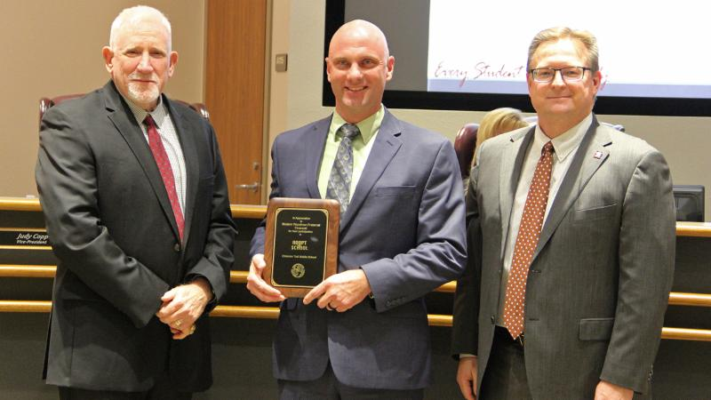 Trustees recognized Modern Woodmen as a district Partner in Education_ supporting schools and students.