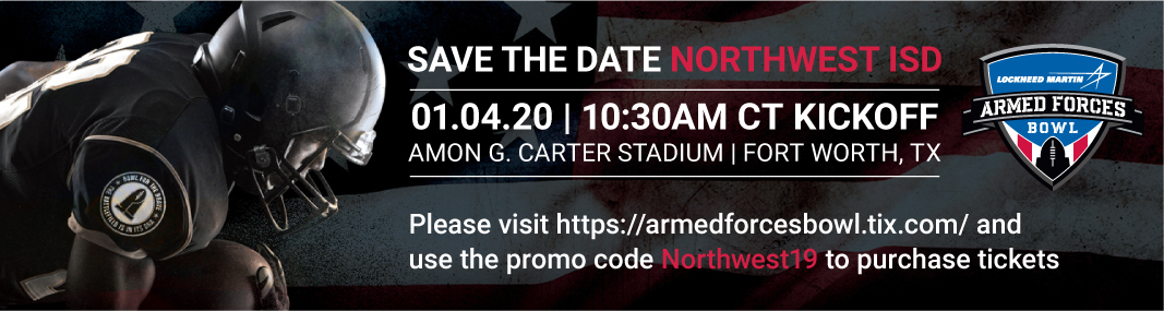 A banner for the Armed Forces Bowl with the promo code Northwest19