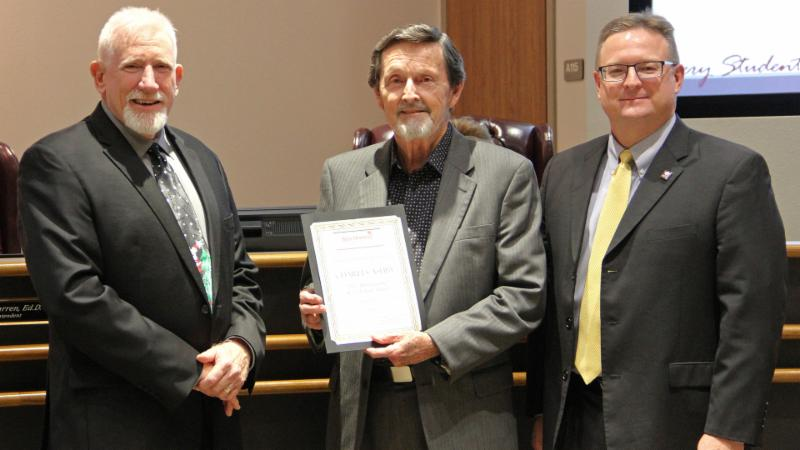 Trustees recognized Charles Ashby for his work helping the district obtain a recent energy award.