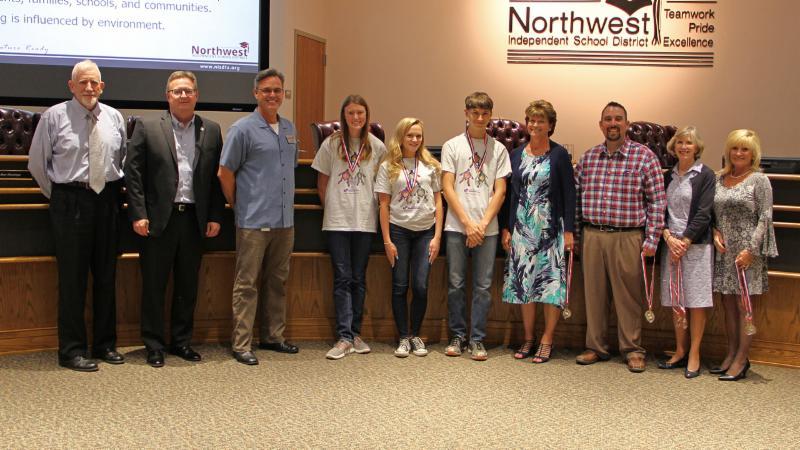 Trustees recognized a Northwest Destination Imagination team_ Global Finals qualifiers.