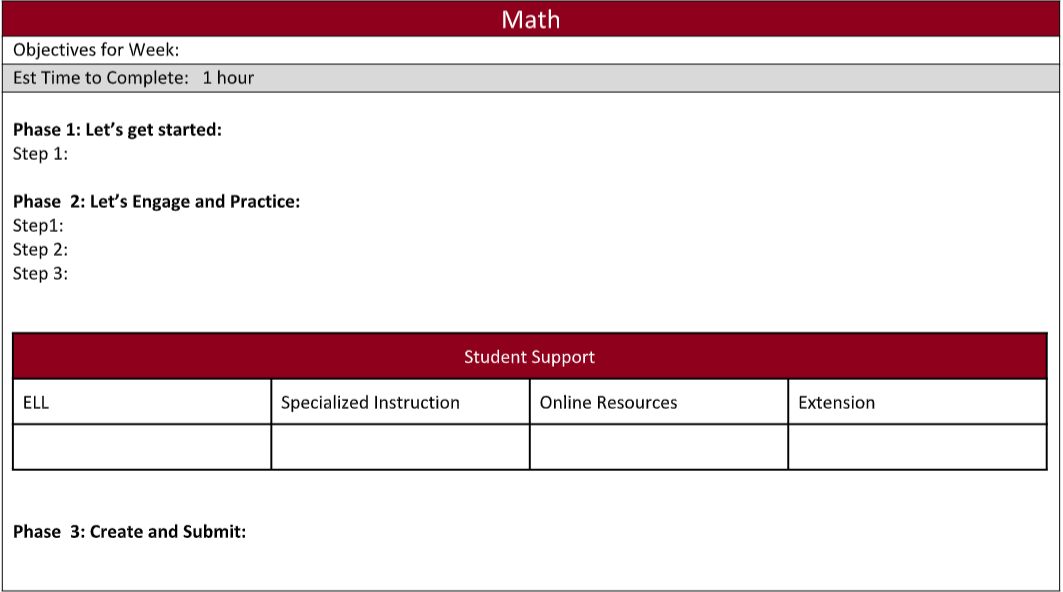 A screenshot example of the elementary online learning plan