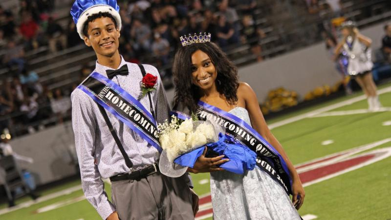 Byron Nelson homecoming king and queen_ Dallas Briscoe and Jasmyn Coffin