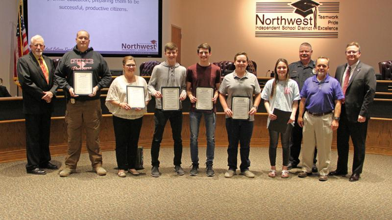 Trustees recognized the district_s safety and security team and students for their recent Crime Stoppers award.