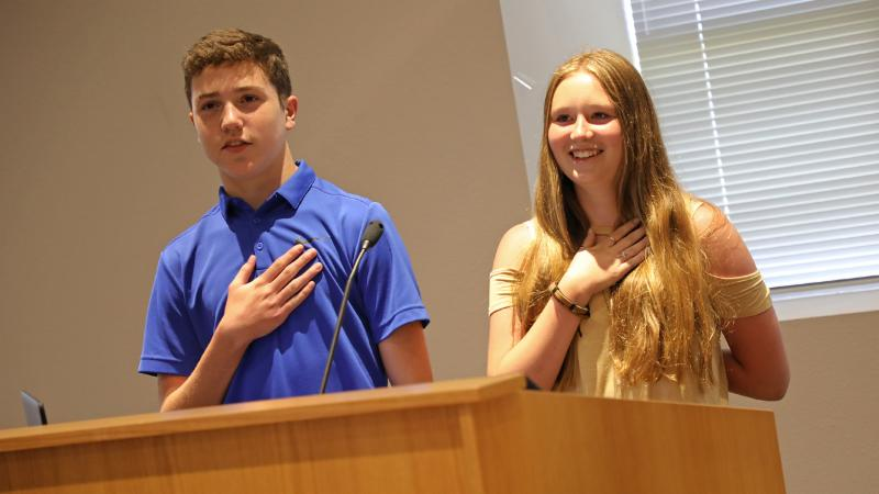 Medlin Middle School students lead the pledge