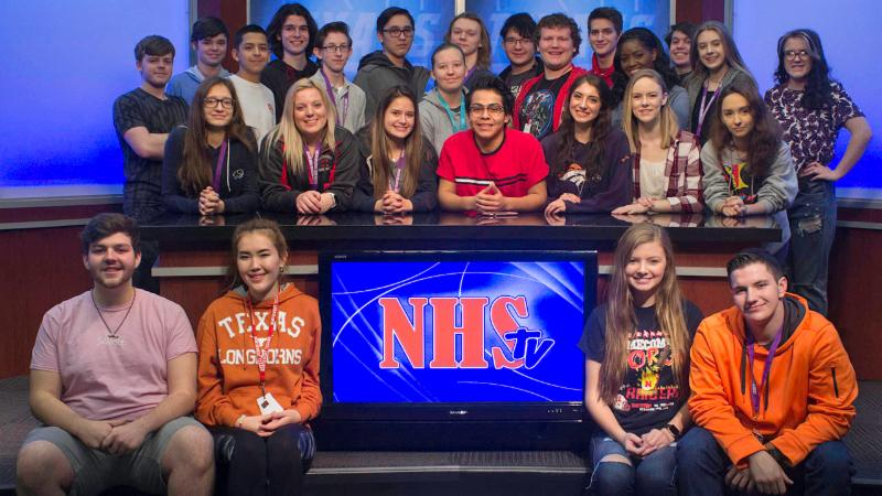 The 2017-18 cast and crew of NHSTV
