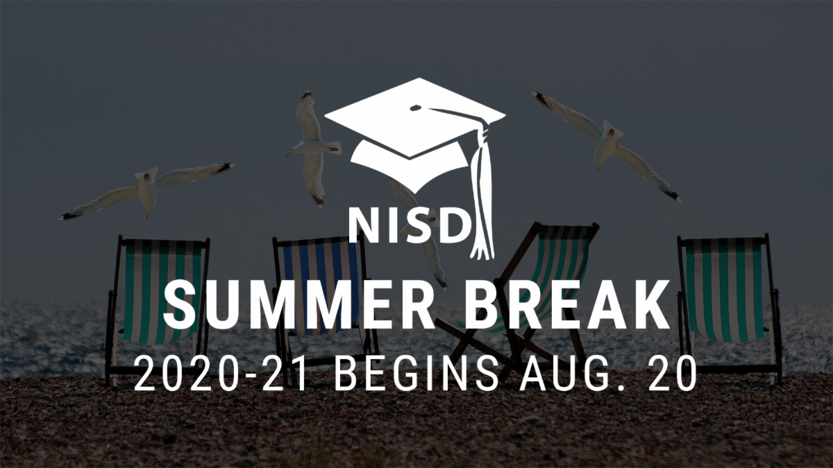A photo of beach chairs with the text NISD Summer Break 2020-21 begins Aug. 20
