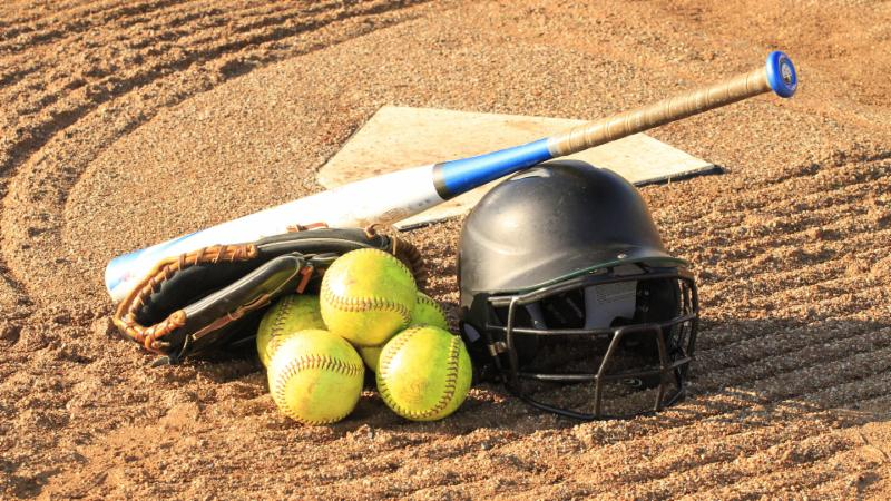 A photo of softball equipment