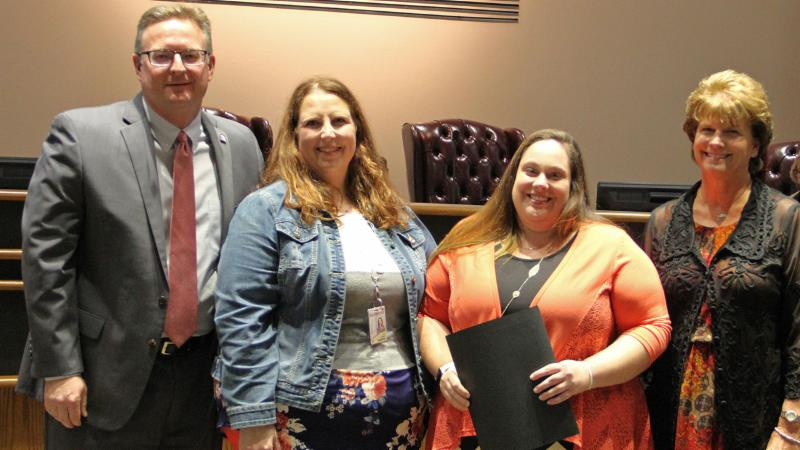 Trustees recognized Amanda Rogers of Thompson for being named Junior Achievement of the Chisholm Trail_s Program Coordinator of the Year.