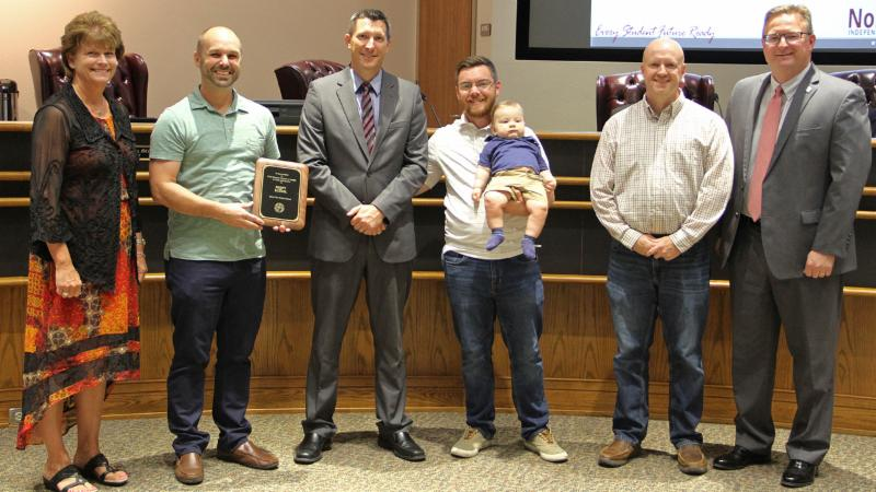 Trustees recognized First Baptist Church of Justin for serving as an Adopt-A-School partner of Pike Middle School.