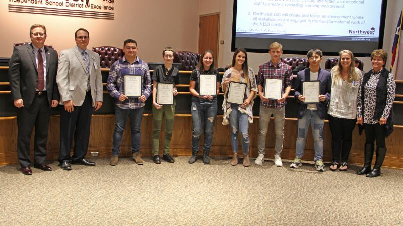 Trustees recognized Eaton High School art students for their recent creation of a mural that hangs in the district administration building.