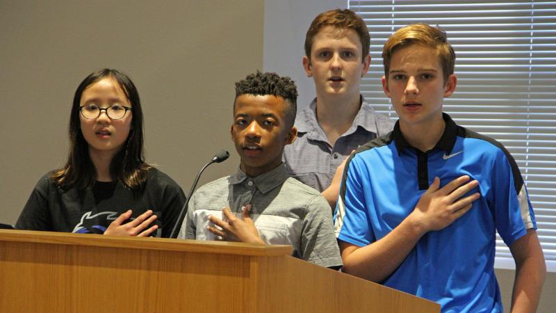 Medlin Middle School students led the pledge.