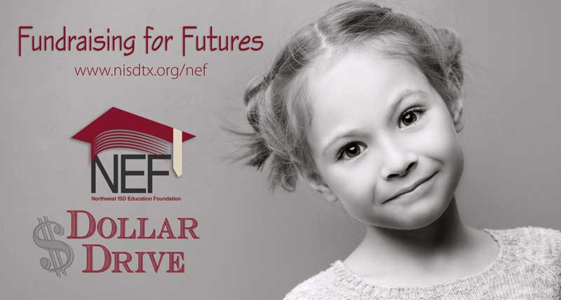 NEF Dollar Drive text with a child's photo