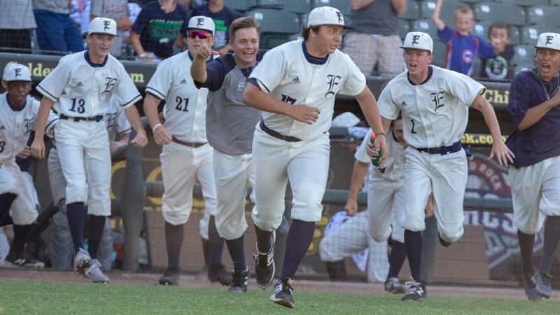 The Eaton baseball team celebrates their state semifinal victory