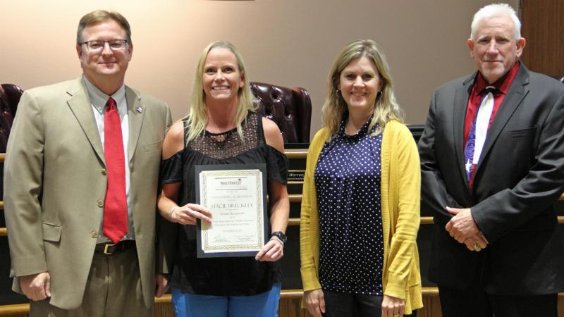 Trustees recognized Stacie Breckley for her recent heart health education honor.