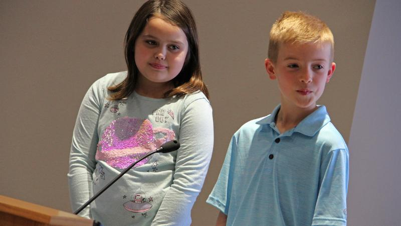 Cox Elementary School students led the pledge