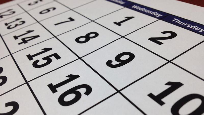 A stock photo of a calendar