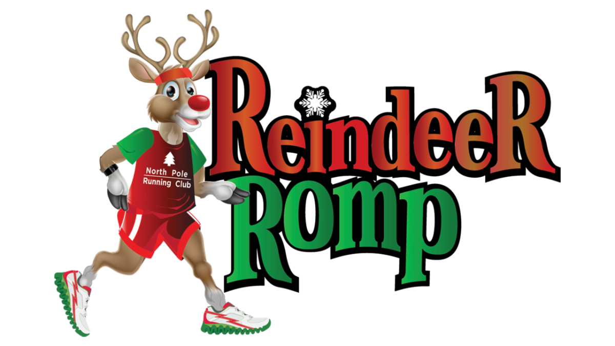 The logo for the Reindeer Romp with the text of the name and a reindeer jogging