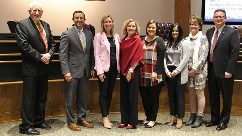 Trustees recognized the Northwest ISD Education Foundation for earning the Heart of the Region recognition.