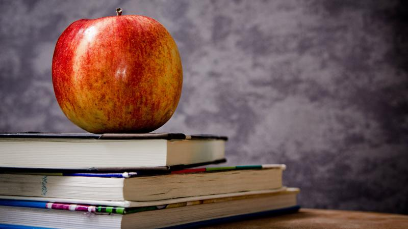A photo of an apple on top of textbooks