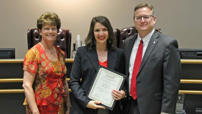 Trustees recognized Kaycee Bennett for receiving the Murrell Award.