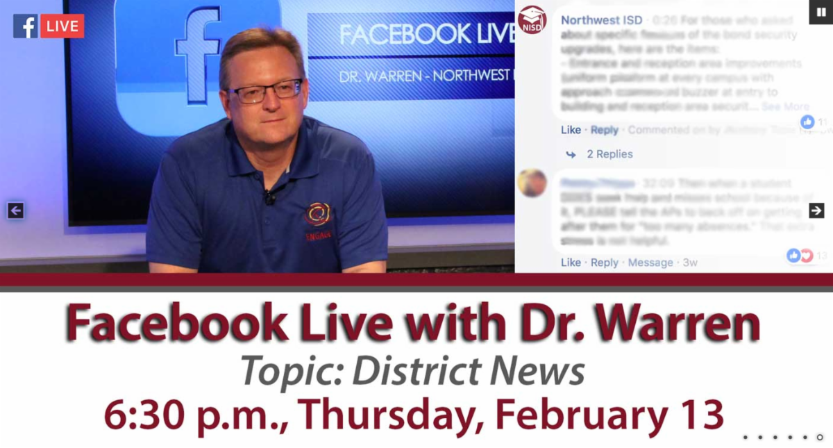 Facebook Live with Dr. Warren Topic District News 6 30 pm Thursday February 13
