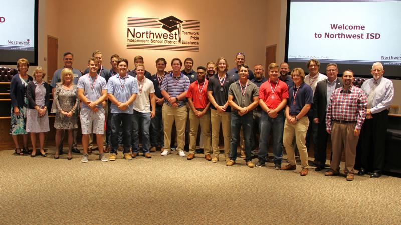 Trustees recognized the Eaton baseball team_ 5A state champions.