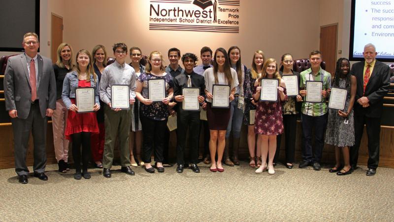 Trustees recognized members of the district Student Ambassador program.