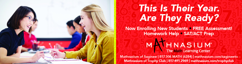 An advertisement for Mathnasium that says, 'This is Their Year. Are They Ready? Now Enrolling New Students. Free Assessment! Homework Help. SAT/ACT Prep.'