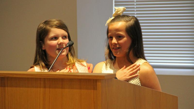 Hatfield Elementary School students led the Pledge of Allegiance.