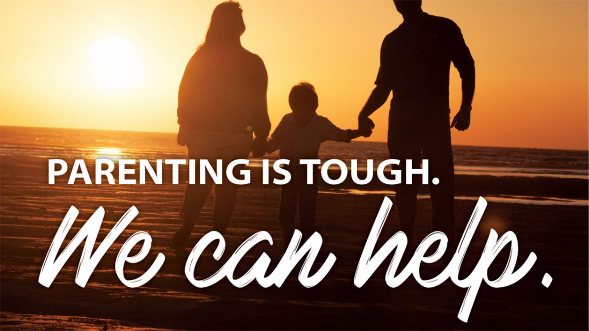 A photo of three people holding hands with text that parenting is tough we can help