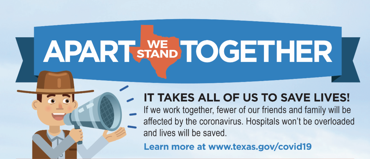 An image with the text Apart We Stand Together and a link to texas.gov covid19