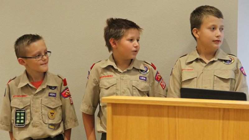 Local Boy Scout Troop 280 students led the pledge.