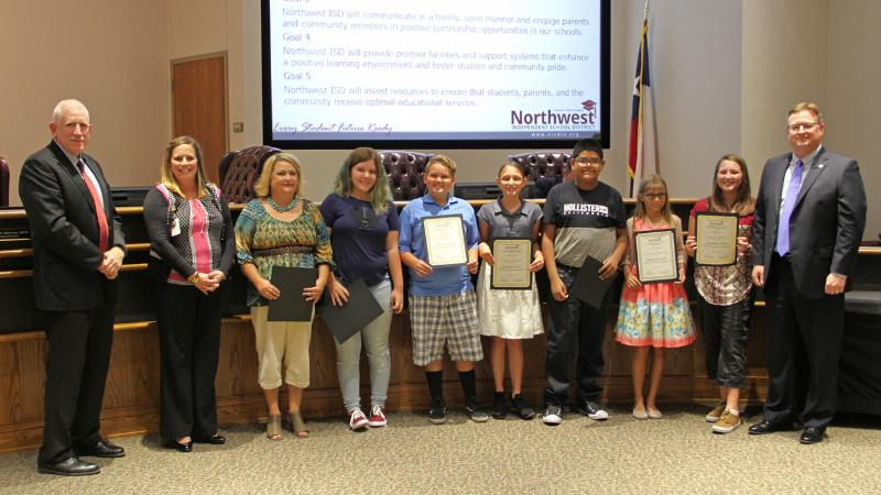 Trustees recognized Thompson Elementary School students for reaching the Destination Imagination Global Finals.