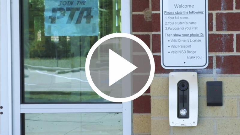 A video capture of the entry call station
