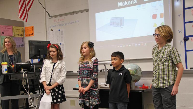 Elementary students presenting at the Techno Expo