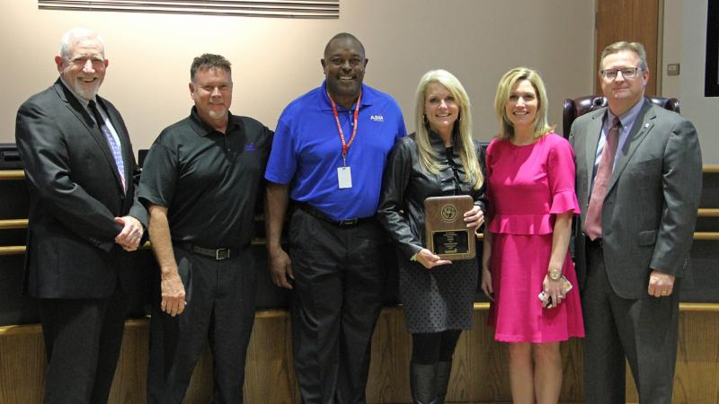 Trustees recognized ABM as a district Partner in Education.